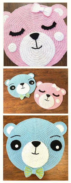 Crochet Rug PATTERN  Crochet Bear Nursery Rug -  by Deborah O'Leary Patterns  #crochet #baby #nursery #rug #easy #chunky #patterns