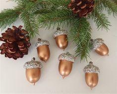 6 Real Acorn Christmas Tree Ornaments Bronze by FeistyFarmersWife, $9.00