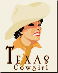 Texas Cowgirl Stretched Canvas Print by Richard Weiss at Art.co.uk
