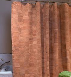 Cork Shower Curtain. What a beautiful natural accent for spiritually aligned bathroom space.