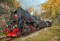 Fotobehang Old steam locomotive in the Circum-Baikal Railway Image Storage, Steam Locomotive, Monster Trucks, Hotels, Ipad, Vehicles, Jigsaw Puzzles, Magic, Trains