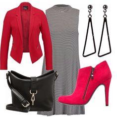 Abito millerighe micro, giacca sfiancata in un rosso davvero stupendo! Orecchini…