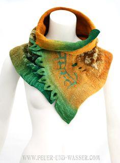 Nuno felted scarves Felted Scarf Two Way Felt by FeuerUndWasser, $125.00