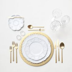 RENT: Versailles Glass Chargers in 24k Gold   Signature Collection Dinnerware   Rondo Flatware in Brushed 24k Gold   Vintage Cut Crystal Goblets   Vintage Champagne Coupes   Antique Crystal Salt Cellars  SHOP: Rondo Flatware in Brushed 24k Gold