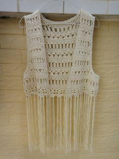 Crochet Fringed Vest FESTIVAL VEST Elongated by Tinacrochetstudio