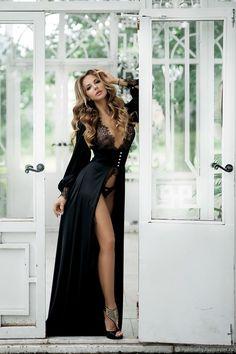 Купить Черное будуарное платье