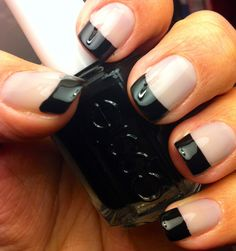 Opi My Pointe Exactly and Essie Licorice. Seche Vite top coat. Black French.