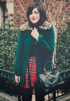 Plaid Skirt and a Green Cardigan with a Leopard Fur Collar