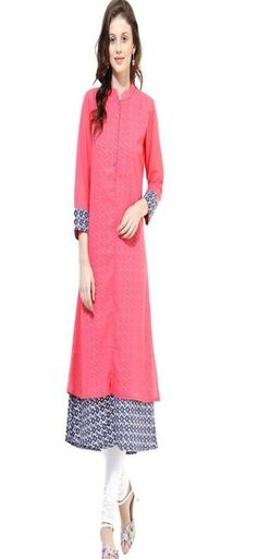 Buy La Firangi Pink Layered Kurta - Kurtas for Women from La Firangi at Rs. Latest Kurtis Online, Designer Kurtis Online, Layered Kurta, Pink Kurti, Indian Tunic Tops, A Line Kurta, Ethnic Outfits, Kurta Designs, Ethnic Fashion