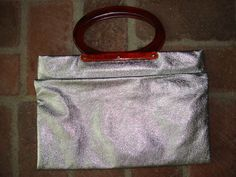 Vintage Silver Metallic Purse, 1960's, Fold Over Style, Great Tote for Shopping or Laptop