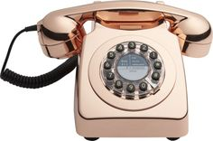 Free Shipping.  Shop copper phone.   We're bringing the land line back with this iconic British telephone circa 1967.  We kept the authentic vintage silhouette, but added a few 2016 upgrades.  The dial has been replaced with push buttons.