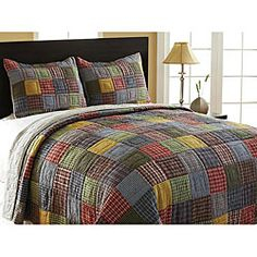 @Overstock - Cover your bed throughout the fall and winter with this colorful queen-size quilt set. This reversible bed cover features a rustic block design on one side and a subtle pinstripe on the opposite. A pair of shams complete the package.http://www.overstock.com/Bedding-Bath/Caftan-3-piece-Queen-size-Reversible-Quilt-Set/5323957/product.html?CID=214117 $129.99