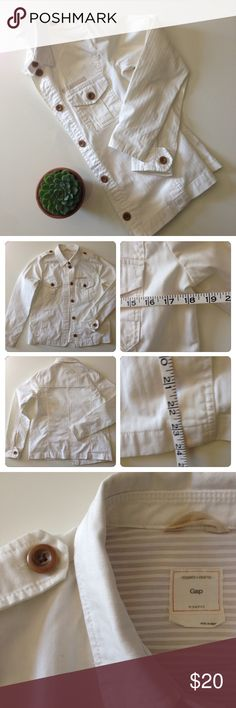GAP denim jacket White jacket with chest pocket and front hand pockets. Excellent used condition, no stains or holes. Worn twice. This is not a super heavy, stiff denim. It's softer and has a very subtle herringbone tone-on-tone stripe. GAP Jackets & Coats Jean Jackets