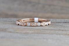 14k Rose Gold Diamond Vintage Milgrain Bezel Band Ring Wedding