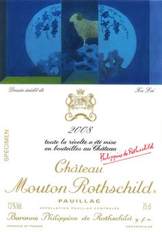 Château Mouton Rothschild 2008 - Pauillac / Bordeaux / France. The Chinese artist Xu Lei has returned to the theme of the ram in this vintage 2008, here hidden between two halves of a moon-like globe draped with grape vines. Average Score : 95,88/100 (12 critics)