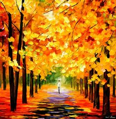 The Gold Of Fall by Leonid Afremov by Leonidafremov.deviantart.com on…