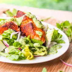 Southwestern Salmon Salad with Avocado Cilantro Dressing {Gluten-Free, Dairy-Free} Recipe on Yummly