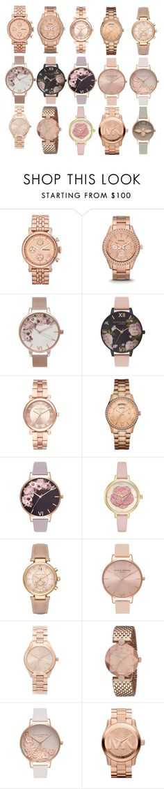 Rose gold women's watches by pengy-vanou on Polyvore featuring Michael Kors, Kate Spade, FOSSIL, GUESS and Olivia Burton