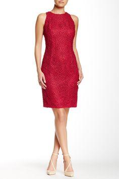 Crimson Red Carmen Marc Valvo Fitted Sleeveless Dress