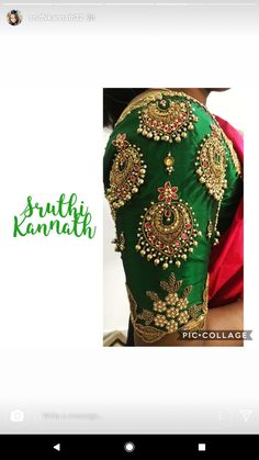 All time favourite :) Stunning bottle green color bridal designer blouse with chaandbali design hand embroidery gold thread and bead work. Pattu Saree Blouse Designs, Blouse Designs Silk, Designer Blouse Patterns, Bridal Blouse Designs, Blouse Designs Embroidery, Hand Work Blouse Design, Dress Designs, Traditional Blouse Designs, La Bayadere