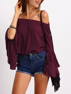 burgundy off the shoulder top, bell sleeve top, off the shoulder shirt, burgundy trendy top - Lyfie