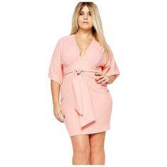 Pink Belted Plus Size Dress LAVELIQ ($50) ❤ liked on Polyvore featuring dresses, plus size pink dresses, pink dress, pink kimono, plus size day dresses and plus size kimono dress