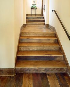 Timber frame Residential Flooring by New Energy Works. Wood Staircase, Wooden Stairs, Wooden Doors, Staircase Ideas, Staircase Remodel, Metal Barn Homes, Metal Building Homes, Pole Barn Homes, Barndominium Floor Plans