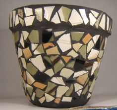 pl31 Mosaic terra cotta pot in earth by BitsnPiecesMosaicPot, $50.00
