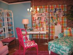 Colorful Mom Cave - I love the huge pin boards!