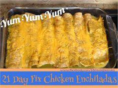 21 Day Fix chicken enchiladas - hide some veggies inside!