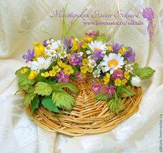 """Купить Полевой букет """"Шепот ветра"""" - сиреневый, цветы ручной работы, цветы из ткани"""