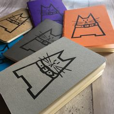 Dave notebooks are now available in my Etsy store! Hand printed, hand stitched and hand trimmed, in a variety of colours!