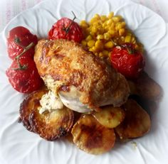 Cheese Stuffed Chicken with Roasted Potatoes and Cherry Tomatoes . . . from The English Kitchen