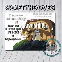 Totoro Cat Bus Invitation PLEASE READ THE WHOLE ITEM DESCRIPTION! Invites are designed as 5x7 THIS IS A CUSTOM DIGITAL FILE PRODUCT This listing is for a high-resolution DIGITAL file of the pictured invitation in a jpg format for printing at home or online photo labs like Fed Ex, Kinkos, Stap...