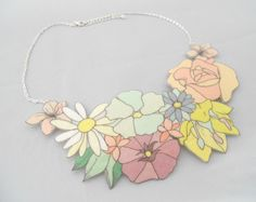 Flower Collar Necklace Felt Floral Necklace by Listiques on Etsy, £18.00