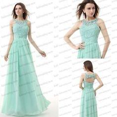Lange Abend Partei-Ball-Kleid-formales Cocktail Brautjungfer Abendkleid mint