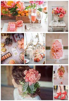 orange coral wedding