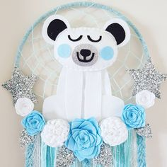 """37 Likes, 1 Comments - Enchanted Felt Shop (@enchanted_felt_shop) on Instagram: """"Bear Dream Catcher With blue and white flowers Sparkly Silver Stars #bears #woodlands #boydecor…"""""""