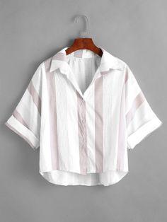 Striped short sleeve cuffed shirt