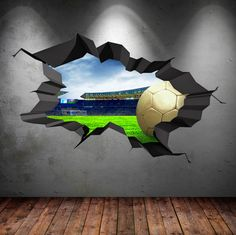3D Football Stadium Wall Decal Cracked Full by WallSmArtDesignsTM