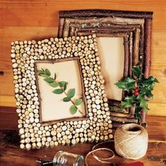 "Cute rustic photo frames decorated with twigs and crosscut ""slices"" from twigs."
