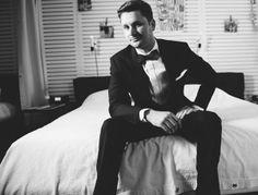classic black tuxedo, bowtie, groom style