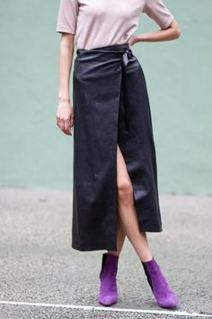 With a high-slit maxi skirt, try a pair of bold colored booties for a stylish pop. // Reed Krakoff skirt, Aska booties.