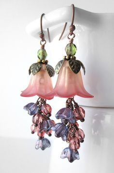Peach Sangria Flower Earrings - Peach, Soft Red, Purple, Salmon Pink Hombre Flowers, Garden Wedding Bridesmaid Jewelry, Nature Jewelry