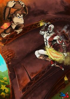 Kratos vs Donkey Kong by TuaX on DeviantArt Kratos Mortal Kombat, Kratos God Of War, Donkey Kong, Fighting Games, Video Game Art, Deviantart, Drawings, Artist, Fictional Characters