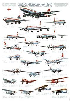 Swissair, les avions de 1931 à nos jours - Galerie 123 - Original Vintage Posters