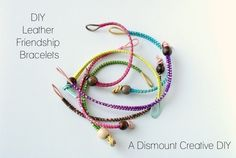 DIY colorful leather friendship bracelets  #handmade #jewelry