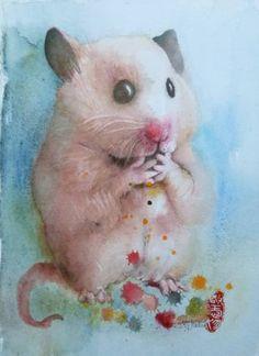 "Saatchi Art Artist Marie-helene Stokkink; Painting, ""Hamster"" #art"