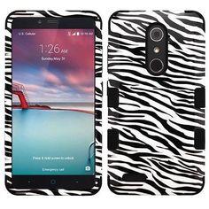 MYBAT TUFF Hybrid ZTE ZMAX PRO Case - Zebra Skin/Black