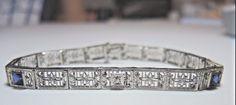 """Antique Vintage Art Deco J R Woods & Sons Diamond Bracelet 71/4"""" 14k White Gold #JRWoodsSons #Chain"""